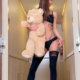 Long legs and a little bear. by Brian Sadowski - People Body Art/Tattoos ( bear, victorias secret, long legs, model, teddy bear, long hair, boudoir, portrait, stockings, lingerie, tattoos, legs, hotel, chicago, brunette, hallway, nikon )