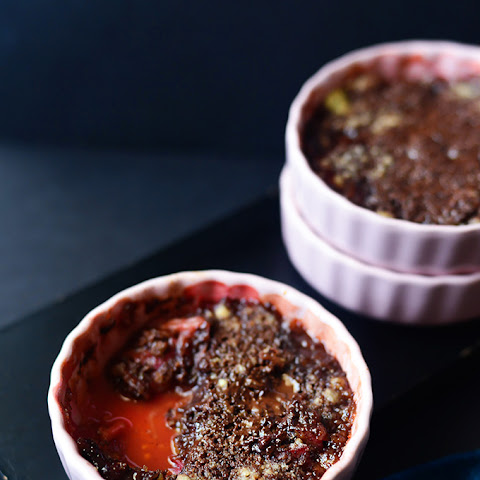 Dark Chocolate Rhubarb Crumble