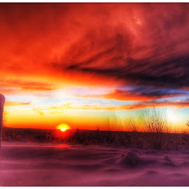 Sunset  by Rob King - Landscapes Sunsets & Sunrises ( orange, sunset, snow, beauty, glow, sun )
