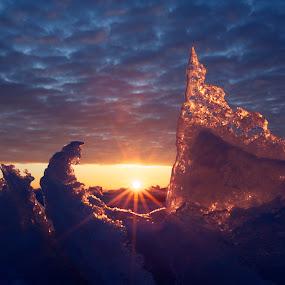 Northern Sunrise by Larry Kaasa - Landscapes Sunsets & Sunrises ( ice formation, winter, waterscape, ice, lake superior, sunrise, landscape )