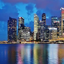 City Skyline by Koh Chip Whye - City,  Street & Park  Skylines ( , city at night, street at night, park at night, nightlife, night life, nighttime in the city )