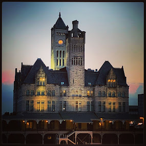 Union Station Hotel in Nashville, Tennessee  by Mary Phelps - Buildings & Architecture Office Buildings & Hotels ( sunrise, nashville, tennessee, light, union station, hotel, iphone, architecture,  )