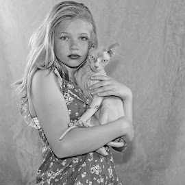 Girl with cat by Lize Hill - Babies & Children Child Portraits