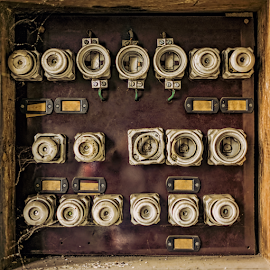 Old fuse panel by Roberto Sorin - Artistic Objects Still Life ( panel, contactor, old, technology, retro, equipment, switch, rusty, grunge, danger, metal, dirty, power, supply, electricity, rust, industry, work, control, wire, vintage, electric, fuse, green, board, electronic, broken, many, safety, electrical, industrial, voltage, background, service, circuit, factory, box, antique, phase, energy, wall,  )