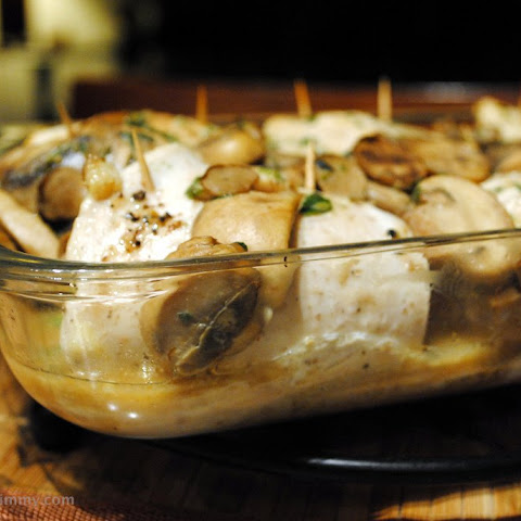 Spinach Stuffed Chicken Breasts in Mushroom Sauce
