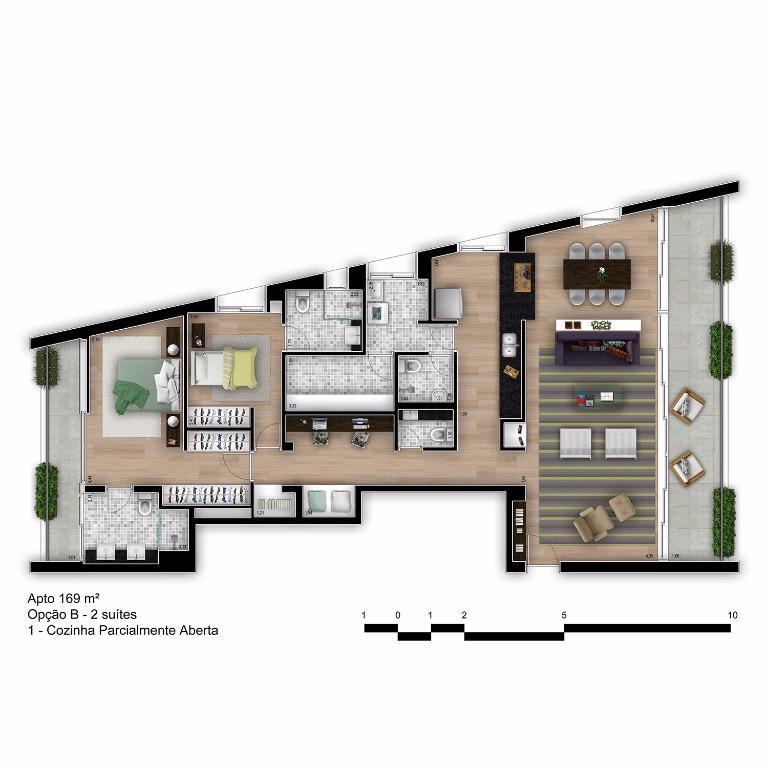 Planta Tipo Final 1B com Cozinha Parcialmente Aberta - 169 m²
