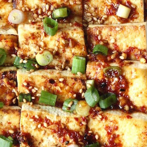 Pan Fried Tofu with Spicy Korean Sauce