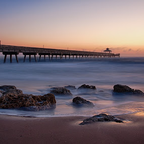 Dawn at the Deerfield Beach pier by Tim Azar - Landscapes Sunsets & Sunrises ( shore, water, deerfield beach, hdr, tim azar, waves, ocean, beach, landscape, storm, coast, hdr efex pro 2, high tide, deerfield beach pier, sky, florida, shoreline, tide, pier, sunrise, dfine )