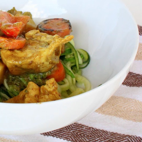 Chicken and Vegetable Banana Curry over Zucchini Noodles