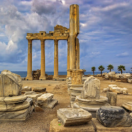 Turkey Side Temple Of Apollo by Graham Mulrooney - Buildings & Architecture Public & Historical ( masonry, ruin, columns, archeology, architecture, temple, ancient, anatolia, side, horizontal, ruins, archeological site, antiquety, turkey, turquoise coast, apollon,  )