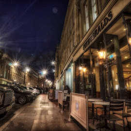 Grey Street by Adam Lang - City,  Street & Park  Night ( lights, street, night, newcastle, road, grey street, bar )