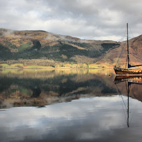 Serenity by Sandra Cockayne - Landscapes Waterscapes ( scotland, waterscape, pwcreflections, yacht, reflections, loch, moored boat, landscape, boat, moorings, boating, mast, mountains, scottich loch, boat on a loch, sailing, scottish loch, moored, sandra cockayne,  )