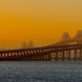 The San Rafael Bridge at dawn by Robin Rawlings Wechsler - Buildings & Architecture Bridges & Suspended Structures ( water, dawn, nature, sunrise, architecture, bridge )