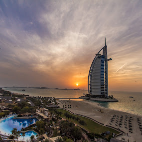 Wild Wadi, Burj Al Arab, Sunset by Jaideep Abraham - City,  Street & Park  Amusement Parks ( wild wadi, dubai, sunset, waterpark, burj al arab, beach )