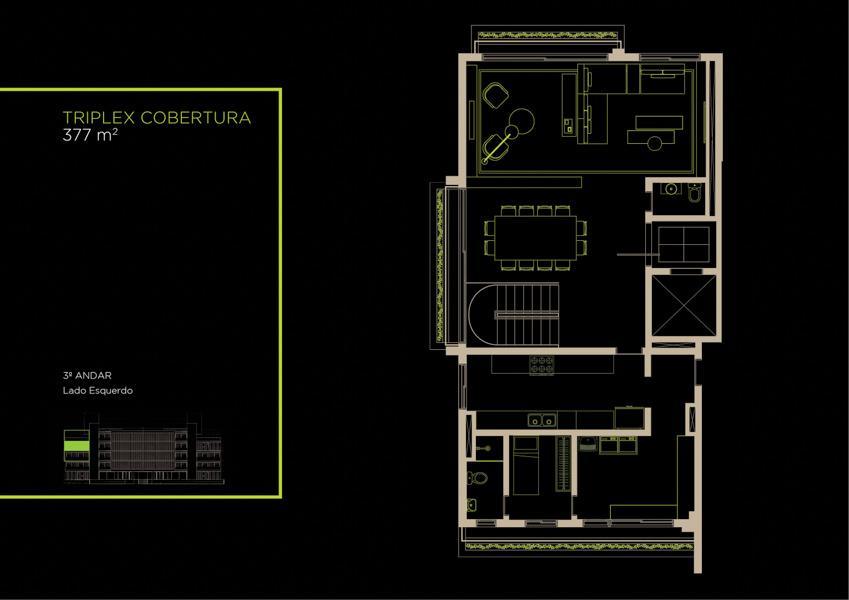 Apto Cobertura Triplex (31A) - 377 m² - Piso Intermediário