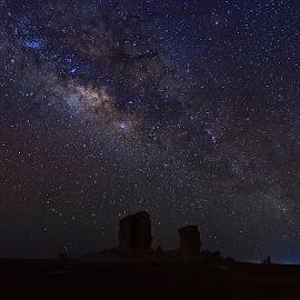 Milky Way & the loner photographer by Ahmed Saleh - Landscapes Starscapes ( night, photokhana, nikon, bahreya, egypt, galaxy, nightscape, milky way )