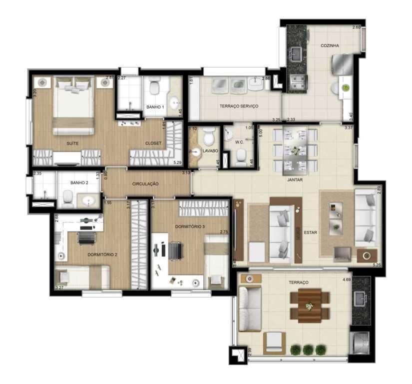 Planta Apto 3 Dorms com Sala Ampliada - 109 m²