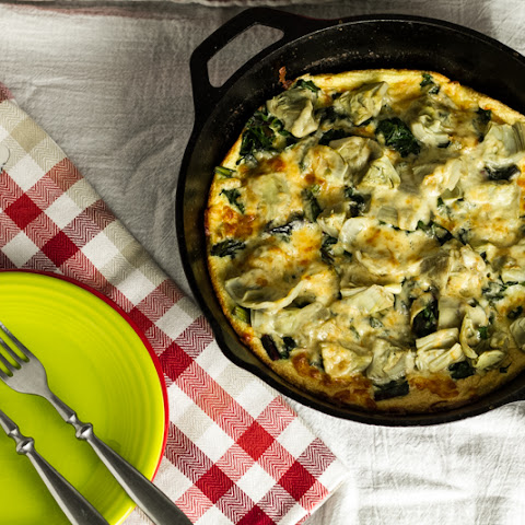 Skillet Cheese Soufflè with Swiss Chard & Artichokes (adapted from Cookwise by Shirley Corriher)