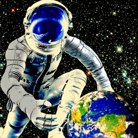 Bigger The Life by Vince Scaglione - Digital Art People ( spaceman, planet, life, astronaut, earth, big, space )