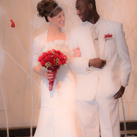 Mr. & Mrs. by Chris Cavallo - Wedding Bride & Groom ( red, formals, wedding, winter wedding, white, bridal bouquet, gown, bride, groom )