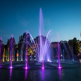 Fountains in Warsaw by Marcin Frąckiewicz - City,  Street & Park  Fountains ( fountains, warsaw, poland )