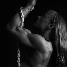 Contraction by Monte Arnold - Sports & Fitness Fitness ( training, abs, bicep, form, black and white, fitness, strength, muscle, power, trainer )