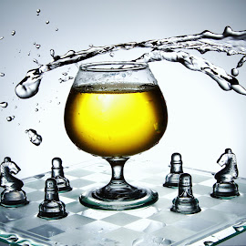 Water and glass splash on chess board by Peter Salmon - Artistic Objects Glass ( water, splash, chess, glass, board )