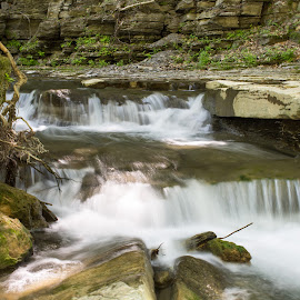 Stream To Creamery Falls  by William Hayes - Novices Only Landscapes ( stream, upstate, creamery falls, vanhornesville, long exposure, new york, spring )