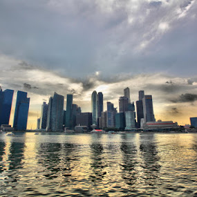 Marina Bay Evening by Michael Chen - City,  Street & Park  Vistas