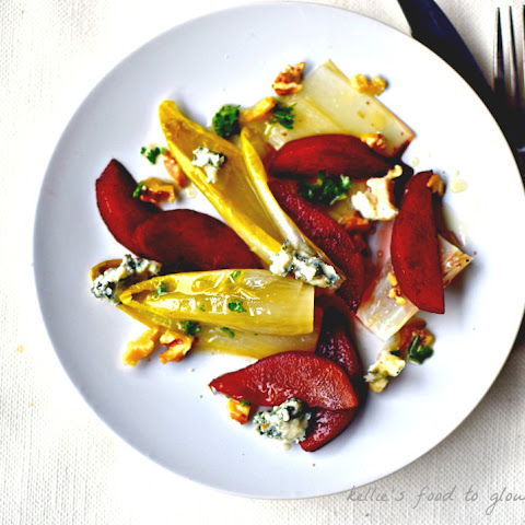 Port Poached Pears, Endive & Blue Cheese Salad