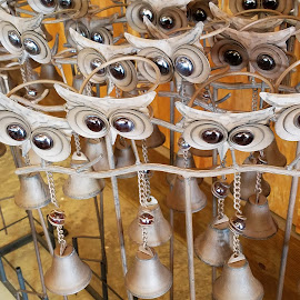 Whooot Owls! by Anne Johnson - Artistic Objects Other Objects ( owl art, art, decorations, artistic objects, metal art )