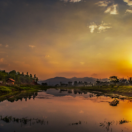 In the morning by Devendra Hijam - Landscapes Sunsets & Sunrises ( reflection, hut, glory, lines, sunrise,  )