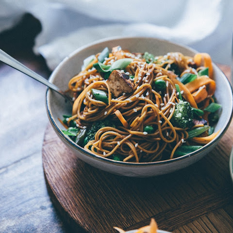 Asian Noodles With Vegetables And Pieces Of Tofu
