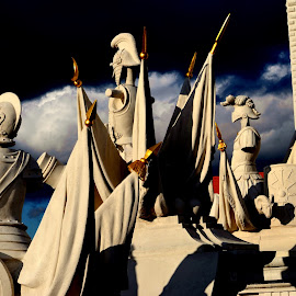 War  by Des McKenna - Buildings & Architecture Statues & Monuments ( statue, sky, armour, helmets, architecture )