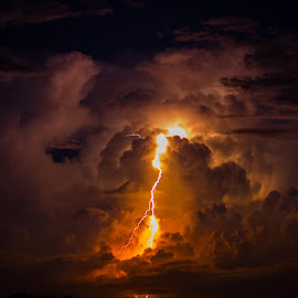 A fun photo from the lighting storm over the bay. by Jeff Pitts - Landscapes Weather ( #lightening, #badweather )