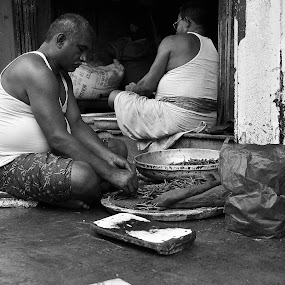 Cook by DrArindam Ghosh - People Street & Candids ( street candids, black and white, street, bw, street photography )