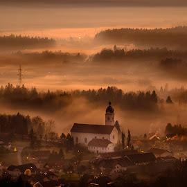 Misty sunset from Smlednik Castle by Daniel Tomanovič - Landscapes Mountains & Hills ( hills, mountains, kranj, sunsets, sunset, slovenia, castle, misty, mist )
