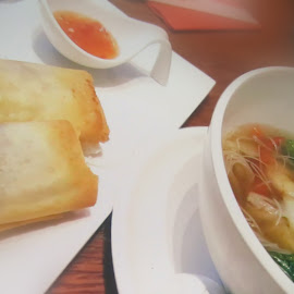 soup and spring rolls by Fereshteh Molavi - Food & Drink Plated Food ( food )