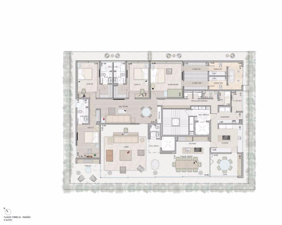 Planta Tipo -  4 Suítes - 459 m²