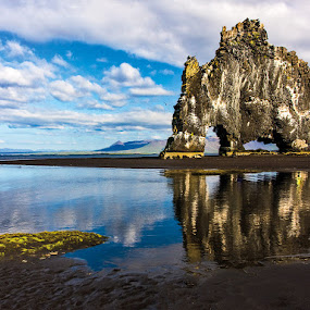 Hvítserkur by Páll Jökull Pétursson - Landscapes Waterscapes ( reflection, landslag, hvítserkur, pwcreflections, speglun, ocean, beach, landscape, fjara, iceland, sky, drangur, ísland, norðurland, sjór, standing, ský )