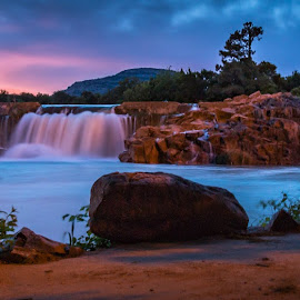 Panoramic of Upper Dam by Kathy Suttles - City,  Street & Park  City Parks ( suttleimpressions, medicine park, upper dam, oklahoma, sunset, overflow )