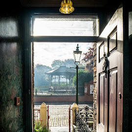 Leaving The House by Adam Lang - City,  Street & Park  Street Scenes ( beamish, street, lamp, door, house )