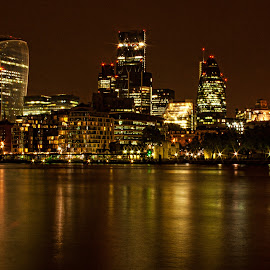 LIGHTS IN LONDON by Gianluca Presto - City,  Street & Park  Skylines ( lights, skyline, england, thames, london, skyscrapers, nightscene, night, longexposure, united kingdom, river, nightscape, city at night, street at night, park at night, nightlife, night life, nighttime in the city )