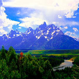 SNAKE RIVER AND THE TETONS by Gerry Slabaugh - Landscapes Mountains & Hills ( snakeriver, wyoming, snake river, jackson hole, grand tetons, grand teton )