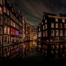 Amsterdam Canal Houses @ night II by Michael van der Burg - City,  Street & Park  Street Scenes ( canals, reflection, holland, amsterdam, netherlands, red lighht district )