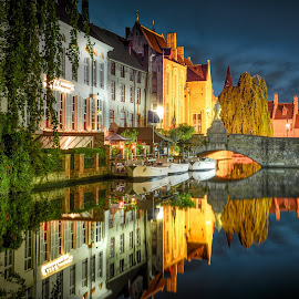 Bruges by Nick Moulds - City,  Street & Park  Historic Districts ( reflection, bruges, night, dusk, canal )