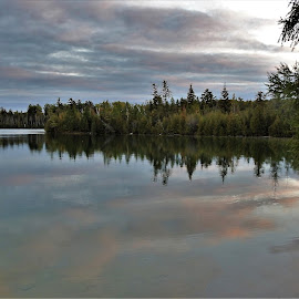 Early Morning Reflection by Kathy Booth - Landscapes Waterscapes ( clouds, michigan, reflection, dawn, lakes, cloudscape, reflections, lake, daybreak )