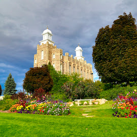 Logan Utah Temple by Jody Richins - Buildings & Architecture Places of Worship ( landscape, flowered, lds, sacred )
