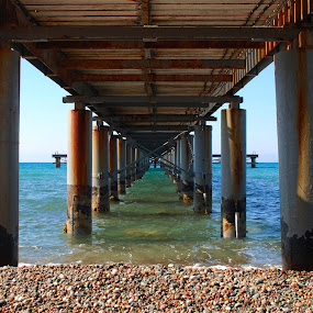 Symmetry  by Pixie Simona - Buildings & Architecture Bridges & Suspended Structures ( seascapes, pier, seascape, jetty, symmetry, deck, pillars,  )