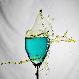 Bluw water, yellow splash by Peter Salmon - Artistic Objects Glass ( water, splash, blue, glass, yellow )